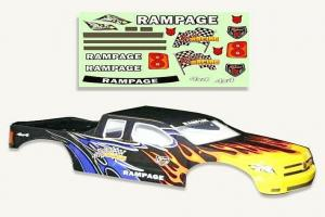 Redcat Racing 1/5 Truck Body Black Flame