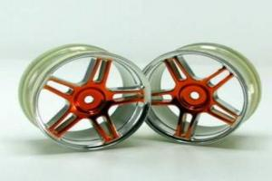 Chrome 5 spoke split spoke yellow anodized wheels 2 pcs