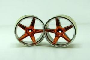 Chrome front 5 spoke yellow anodized wheels 2 pcs
