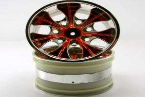 2.8 Chrome 7 spoke yellow anodized wheels 2 pcs