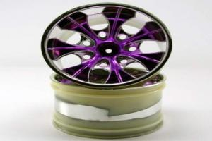 2.8 Chrome 7 spoke purple anodized wheels 2 pcs