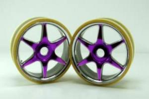 Chrome anodized purple 6 spoke wheels 2pcs