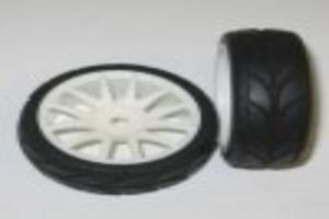 White 12 spoke wheels and tires 2pcs