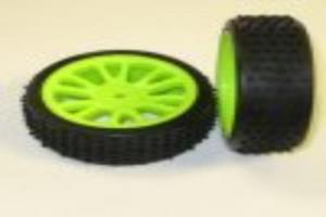Green front wheels and tires 2pcs