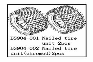 Tire Unit(Chromed wheels)-nail type 2 PCS (BS904-002)