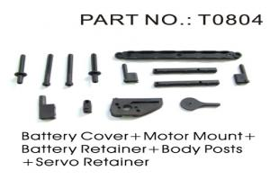 Battery Strap, Battery Post, Battery and Motor Retainer, Body Post, and Servo Mounts