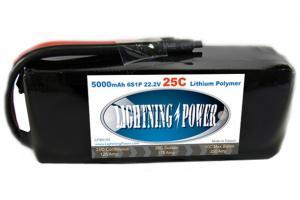 Lightning Power 5000mAh 25C 6S1P 22.2V Battery