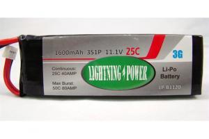Lightning Power 1600mAh 25C 3S1P 11.1V Lithum Polymer Battery